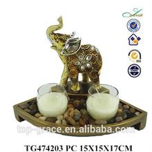 elefante in resina di candela di vetro