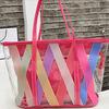 chromatic stripe printing clear waterproof pvc beach bag
