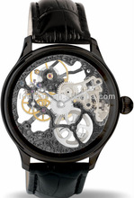 Stainless steel case black leather automatic mechanical watch