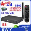 New Arrival !!! E8 android tv box Quad core Amlogic S802 XBMC pre-installed Dual band wifi Android tv box Fta