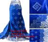 2014 royal blue Nigeria velvet lace fabric