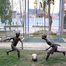 Playing Football Child Bronze Garden Sculpture