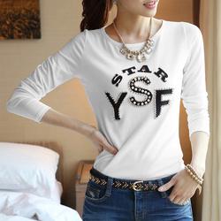 2014 Autumn New Korean YSF t shirt women Print women t-shirt Beading Crew Neck Long Sleeve Slim Casual Tops women clothing G0644