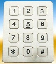 Stainless steel keypad 3x4