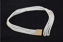 Fashion belt buckle lady belt beaded belt with pearls