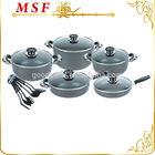 Unique 16pcs pressing aluminium hard anodized cookware set w/ 6pcs nylon kitchen utensils & grey stone ceramic coating MSF-6306