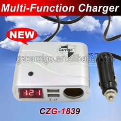 Guangdong manufacturer Round ternary USB interface 5v 2000 mA output usb charger car