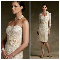 China Wholesale Off Shoulder Sleeveless Beaded Appliques Ivory Chiffon Bow Mother Of The Bride Jacket Dresses 2014 ZYC3370