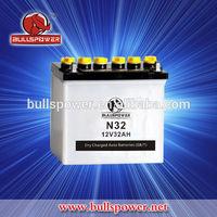 N32 Korea small dry charged car battery 12v 32ah