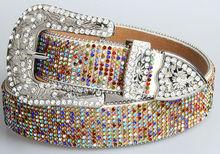 PU Belt Women Belts With Crystal 2015 Fashion Pin Buckle