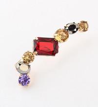 New Fancy Design Bright Color combination Siam Smoke Purple Rhinestone Gold Plated Ear Cuff earring for women