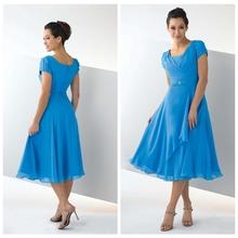 China Wholesale Scoop Cap Sleeves Sky Blue Chiffon Ruffles Pleated Short Dresses Denim Mother Of Bride 2014 ZYC3369