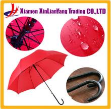 Leather Curved Handle Long Umbrella Automatic Umbrella Red Umbrella
