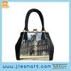 PU lady handbag custom Paris photo printing bag