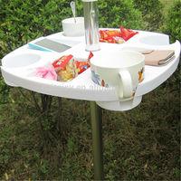 umbrella accessories, folding beach umbrella plastic table for promotion, 38mm pole plastic beach sun umbrella table for drinks