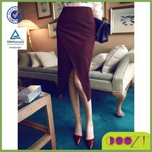 2014 New Fashion Sexy Lady Knee Length Split Front Skirt In Pure Colorlatest Fashion Designer Ladies Skirts
