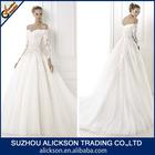 Luxurious Off The Shoulder Ball Gown Long Sleeve Appliqued Beach Wedding Dress