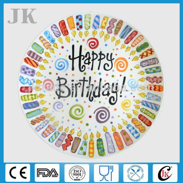 """Atacado 8.5"""" 10.5"""" de cerâmica personalizada aniversário placas para a festa, placas personalizadas"""