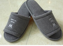 gray cheap hotel disposable terry towel open toe slipper