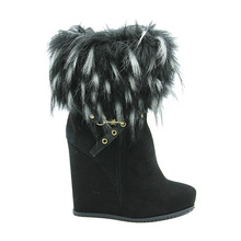 Women wedge high heel fur snow boots