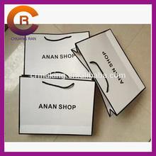 White card silk screen printing paper striped shopping bag