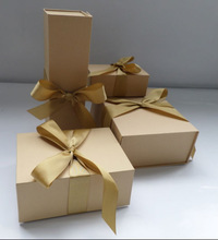 light brown gift with ribbon recycled custom printed paper kraft box gift sets