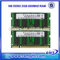 equipo de empresas de fabricación 800 mhz 2gb de memoria ram ddr2 para el ordenador portátil
