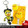 custom made cartoon yellow plastic soft pvc rubber duck keychains