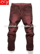 Mens Jogger Pant Red Color Garment Dye Denim Pant 2014 Jeans Pant R1640