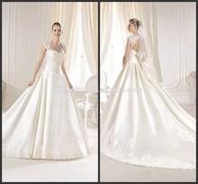 Fancy A-line Princess Cap-Sleeve Sweetheart Lace Pleats Satin Cathedral Train Keyhole Back Wedding Dresses