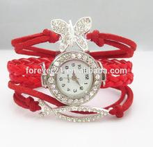 2014 Designer Inspired Red Multilayerred Wrap Bracelet Watch