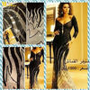 MEV-020 Arabic Celebrity Myriam Fares Sexy Sheath Crystal Beaded Long Sleeve Dresses Evening Pattern
