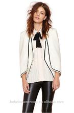 2015 Women Jacket Black Stape Shoulder Pads Cover Sleeve Cloak Black Line Decoration Cape Coat