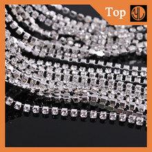 Wholesale Diamante 888 ss14 Crystal Rhinestone Silver Plating CUP Chain 10 yard Wedding Decorations