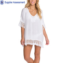 Ladies 100% Cotton short sleeve Deep v-neckline plained white fat tops fashion design lady blouse with fringe