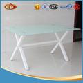 moderno em madeira de transferência de perna de vidro temperado mesa de jantar