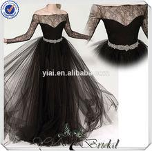 JJ3714 Beaded Belt Off shoulder sexy black wedding dresses with long sleeves