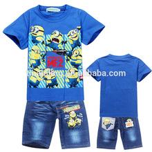 แฟชั่น2014peppaหมูพิมพ์เสื้อผ้าเด็กชุดเด็กชุดฤดูร้อนเด็กสวมใส่