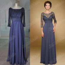 JM.Bridals Real Sample HY237 Charming A line Beaded three quarter sleeves elegant chiffon evening dresses long