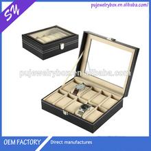 Graceful Watch box, glass top 10 slots black leather watch box