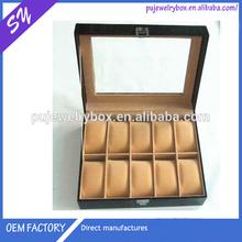 Gift Watch box, glass top 10 slots black leather watch box