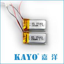 501429 150mAh high temperature lipo battery for black box and beauty tools