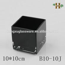 Simple carré noir verre vase, Main de la maison usage verrerie