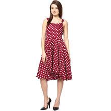 2014 maroon printed skater dress sleeveless polka dot design