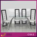 C10- 2+a36- 2 moderno de vidrio mesa de comedor de pvc y sillas de comedor de vidrio juego de comedor