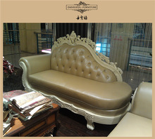 3048C# French style leather sofa suite.chaise lounge suite
