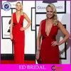2014 New Arrival Sheath Sleeveless V-neck Red Ceremony Celebrity Dress