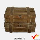 slat lock distressed antique wood box set for storage