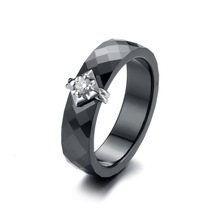 CMRL4008, Prong Setting, Lozenge Shape, Rhodium Plating Jewelry, Black Ceramic, 925 Sterling Silver Lady's Ring