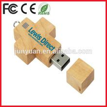 wooden cross shape usb pen drive giveaways